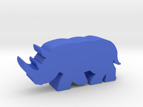 Game Piece, Rhinoceros running in Blue Processed Versatile Plastic