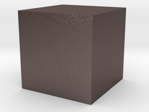 3D printed Sample Model Cube 0.5cm in Polished Bronzed-Silver Steel