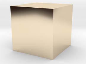 3D printed Sample Model Cube 0.25cm in 14k Gold Plated Brass