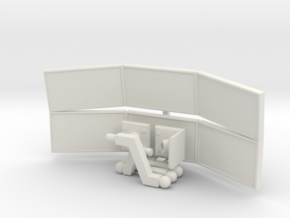 1:18 Scale Monitor Array (Dual) - Wall Mounted in White Natural Versatile Plastic