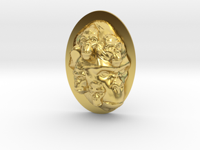 Gorilla Multi-Faced Caricature (006) in Polished Brass
