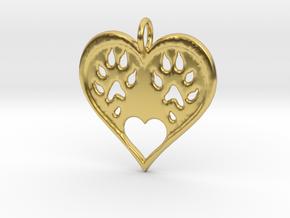 Ferret paw print pendant - precious in Polished Brass