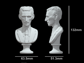 Nikola Tesla Bust Large in White Natural Versatile Plastic: Large
