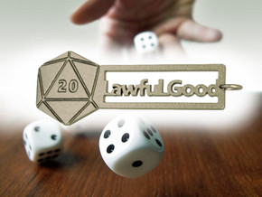 Lawful Good - RPG alignment keyring in Polished Bronzed Silver Steel