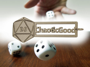 Chaotic Good RPG Keychain in Polished Bronzed Silver Steel
