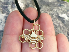 Bumblebee pendant honeycomb design in Polished Brass