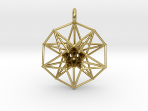 5d hypercube toroidal projection -37mm  in Natural Brass: Small