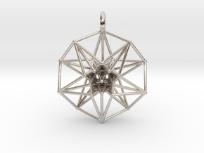 5dhypercube-42mm-1 in Rhodium Plated Brass: Small