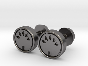 Midi Port Cufflinks in Polished Nickel Steel