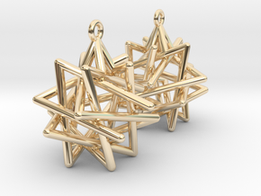 Tetrahedron Compound Earrings in 14k Gold Plated Brass