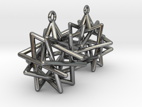 Tetrahedron Compound Earrings in Polished Silver