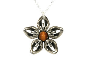 Tigereye Transgender Flower Necklace in Polished Bronzed-Silver Steel