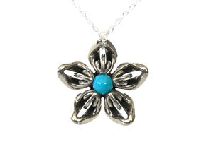 Sleeping Beauty Turquoise Trans Flower Necklace in Polished Bronzed-Silver Steel