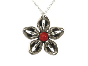Carnelian Transgender Flower Necklace in Polished Bronzed-Silver Steel