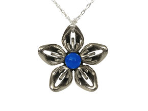 Blue Onyx Transgender Flower Necklace in Polished Bronzed-Silver Steel
