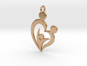 Family of Three Heart Shaped Pendant in Polished Bronze