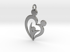 Family of Three Heart Shaped Pendant in Natural Silver
