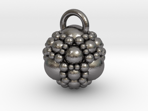 Fractal sphere pendant in Polished Nickel Steel