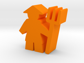 Game Piece, Asian Farmer with pitchfork in Orange Processed Versatile Plastic