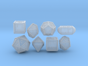 Braille Polyhedral Gaming Dice Set (8 Dice) in Smooth Fine Detail Plastic