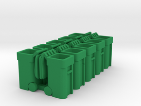 Trash Cart Open - HO 87:1 Scale Qty (10) in Green Processed Versatile Plastic