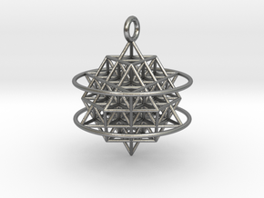 64 Tetrahedron Grid with Boundary Circles in Natural Silver