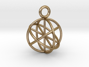 Seed of Life Pendant 20mm  in Polished Gold Steel