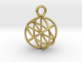 Seed of Life Pendant 20mm  in Natural Brass