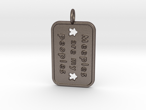 Meeples are my Peoples - Gamer keychain in Polished Bronzed-Silver Steel
