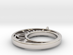 Half Moon with Circles in Rhodium Plated Brass