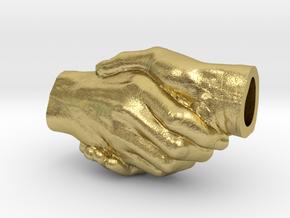Handfast Handshake Pendant in Natural Brass