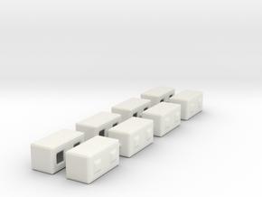 1/87th Precast Barrier Concrete Block in White Natural Versatile Plastic