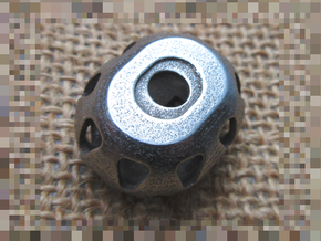 Binary dice in Polished Bronzed-Silver Steel