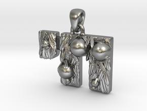 Chai Pendant - Pomegranate tree in Natural Silver (Interlocking Parts)