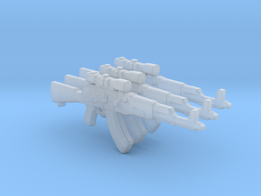 Scoped AK47 3 pieces /35mm scale in Smooth Fine Detail Plastic