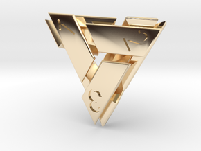 D4 Abstergo Dice in 14K Yellow Gold