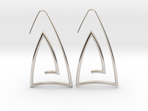 Triangle Hoop in Rhodium Plated Brass