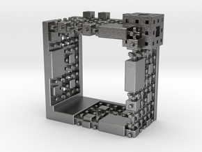 Menger Mondrian Matrix Ring II in Natural Silver