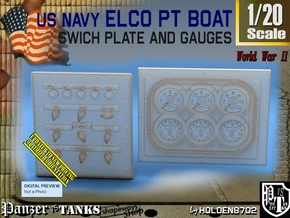 1-20 PT Boat Swich Plate And Gauges in Smooth Fine Detail Plastic