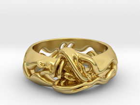 Sea Snake Ring. in Polished Brass: 7 / 54