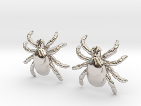 Tick Earrings - Nature Jewelry in Rhodium Plated Brass