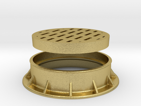 Heavy Drain Grate 1/32 scale in Natural Brass