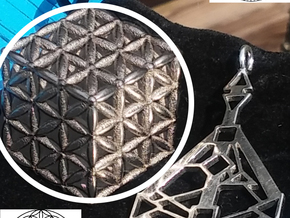 "3-D FLOWER OF LIFE ""META-CUBE"" in Polished Nickel Steel"