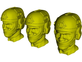 1/18 scale SOCOM operator E helmet & heads x 3 in Smooth Fine Detail Plastic