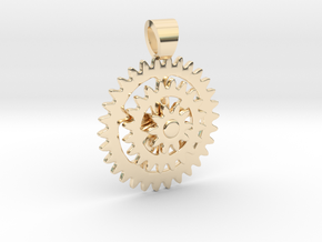 Bike sprocket [pendant] in 14k Gold Plated Brass