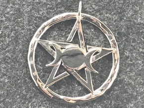 Pentacle with triple Goddess pendant in Rhodium Plated Brass
