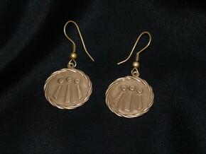 Celtic Awen Earrings v2 in Natural Bronze