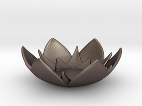 Lotus Bowl in Polished Bronzed-Silver Steel