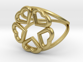 Hearts Hidden Pentacle Ring in Natural Brass: 11 / 64