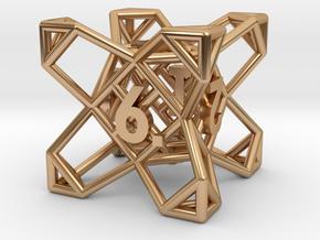 Crystal Lattice Dice, D6 - Standard gaming die in Polished Bronze